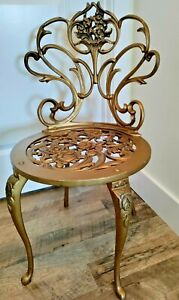 Charming Antique Hollywood Regency Vanity Chair Stool Gold Metal Scowls