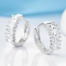 18K White Gold Princess Cut Diamond Hoop Earrings 290