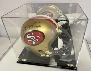 Full Size Football Helmet Display Case Black Acrylic Base Gold Risers Mirror