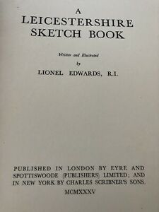 1935 Leicestershire Sketch Book Written illustrated L Edwards Craft Crafting Old