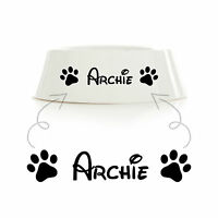 Personalised Name Vinyl Decal Sticker Dog Cat Bowl Cage Kennel Basket Bed Gift