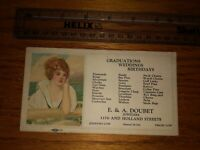 Vintage Business Trade Blotter Card,  Advertising E A DOUBET JEWELERS, Erie PA.