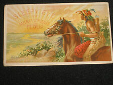 SUN NEVER SETS ON SLEEPY EYE INDIAN ON HORSE UNUSED FLOUR ADV IPOSTCARD 1900S
