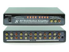 1x8 (1:8) Composite 3-RCA AV + Analog Audio Video Splitter Amplifier SB-3708