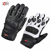 MENS KNUCKLE PROTECTED VENTED SUMMER MOTORBIKE MOTORCYCLE LEATHER GLOVES