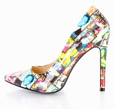 High Heel Pointed Toe 4.5 in Stiletto Sexy Women's Pumps Color-Newspaper US 11