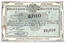 MEXICO LOTTERY TICKET 15 Oct 1858 Academia de S. Carlos 4 Rls. EXPIRED! PPD-USA!