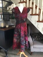 Gorgeous Per Una Marks & Spencer Fit & Flare Midi Dress Purple Pink UK 14