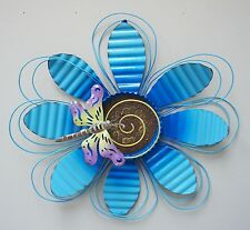 Handcrafted Flower Indoor / Outdoor Wall Decor Daisy Butterfly Metal Art