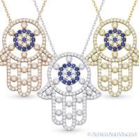 Hamsa Hand of Fatima Evil Eye Pendant .925 Sterling Silver & CZ Crystal Necklace