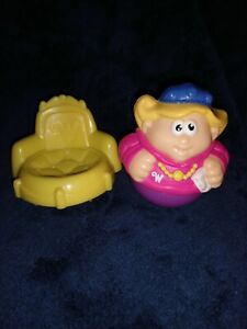 Weebles YELLOW CHAIR PINK PURPLE PRINCESS WITH CROWN
