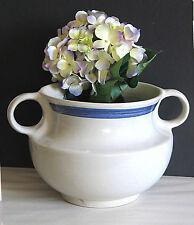 STONEWARE BEAN POT Double Handle CREAMY Gray Blue Stripe Pottery Jar FREE SH