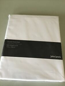 John Lewis 100% Cotton Satin 800 Thread Count Double Fitted Sheet White BNWT