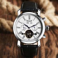 JARAGAR Men Day Date Roman Numerals Automatic Mechanical  Leather Wrist Watch