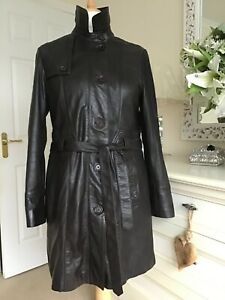 Lakeland Ladies Soft Leather Brown Trench Coat Size 16