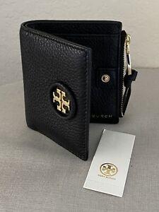 New Tory Burch Mini Black Bifold Wallet Pebbled Leather Tassel