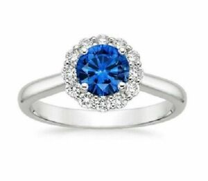 Natural 1.63 Ct Diamond Blue Sapphire Ring 14K Solid White Gold Women's Size N M