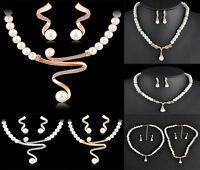Women Prom Wedding Bridal Crystal Pearl Rhinestone Necklace Earrings Set Jewelry