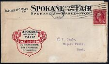 US 1910 SPOKANE INTERSTATE FAIR ADVERTISING COVER FRANKED COIL Sc 353 WITH PHOTO