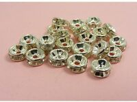 50 CLEAR or MIXED Rhinestone RONDELLE Spacer Bead Cap DIY Findings ~6MM or 8MM~