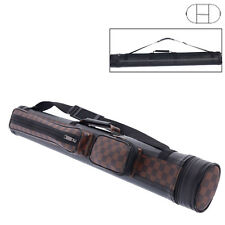 2X2 Hard Tube Pool Cue 4-Hole - Billiard Stick Carrying Case Brown 1/2