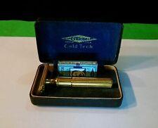 Vintage Razor--Gillette Fat Handle Tech Razor Set with Original Case--NOS Blades