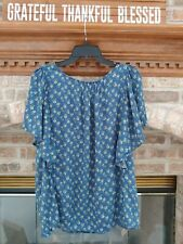 Chaps by Ralph Lauren Sz. Large Blue Floral Batwing Sleeve Top NWT