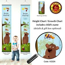Height Growth Chart Bedroom Wall Hanging Gift for Kids, Child, Bees & Bear Theme
