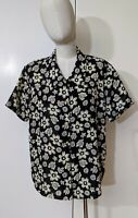 Vtg Retro 80s 90s Button Down Shirt Blouse Sz M Short Sleeve Navy Ivory Flowers