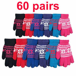 60 pairs Men's Women Snowflake Warm Knitted Magic Winter Gloves Wholesale Lots
