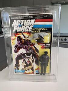 Vintage Action Force G.i GI Joe Figure UK Euro Snake eyes 1985 Card MOSC MOC