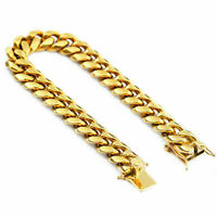 Classic Gold Plated Stainless Steel Miami Cuban Link Chain Bracelet Men 10MM