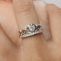 Gorgeous Heart Cut White Sapphire Crown Bridal Wedding Ring 925 Silver Jewelry