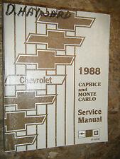 1988 CHEVROLET MONTE CARLO CAPRICE ORIGINAL FACTORY SERVICE MANUAL SHOP REPAIR