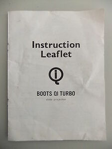 Instructions slide projector BOOTS model QI TURBO CD/EMail