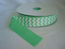 "New listing 100 Yards - 1.5"" - 1 1/2"" Mint & White Chevron Grosgrain Ribbon - 100% Polyester"