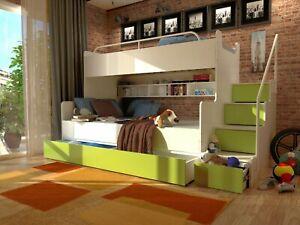 Hochbett Etagenbett Stockbett Kinderbett mit Treppe Matratze INKLUSIV!