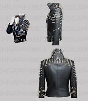 New Women's Full Brando Style Silver Spiked Studded Punk Cowhide Leather Jacket