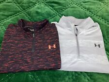 Lot 2 Mens Under Armour 1/4 Zip Pullovers - Xl - Black & Gray Mint Mint Gym Run