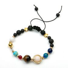 Solar System Galaxy Space Eight Planets Stone Braided Bead Bracelet Jewelry Gift Black