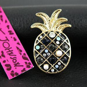 Betsey Johnson Pineapple Pearl Rhinestone Costume Brooch Pin Women Jewelry Gift