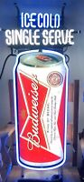 Vintage Ice Cold Single Serve Budweiser Sold Here Neon Sign Beer Bar Light RARE