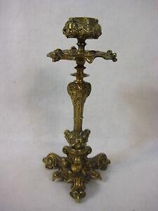 "Vintage 19C French Gilt Bronze Candlestick Holder, 7 1/2"" Tall"