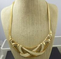 Trifari Vintage Costume Off-White Enamel Gold Tone Herringbone Choker Necklace
