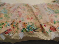 Baby Girl Crib Skirt Dust Ruffle Pink Floral White Eyelet Organza Double Tier