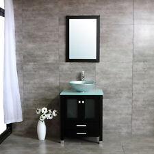 "24"" Bathroom Vanity Cabinet Plywood Round Glass Vessel Sink Faucet w/Mirror Set"