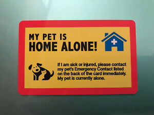 MY DOG IS HOME ALONE - EMERGENCY DOG CAT PET ID WALLET CARD - YELLOW/WHITE