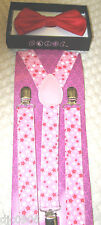 Valentine Solid Red Adjustable Bow Tie & Pink White Stars Suspenders Combo-New