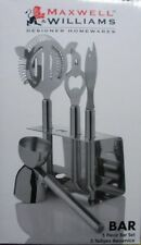 "MAXWELL & WILLIAMS- 5 PIECE BAR SET 18/10 STAINLESS STEEL STAINED BOX"" GZ0140"
