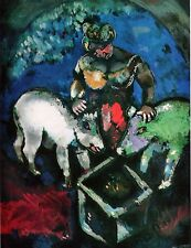 WOMAN WITH PIGS, MARC CHAGALL, OFFSET. LITHOGRAPH 1964 PLATE-SIGNED